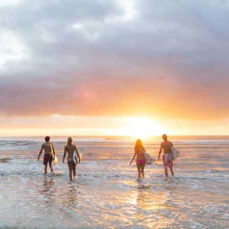 Surfere på vej ud i vandet ved solopgang