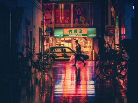 Japan byliv om aftenen
