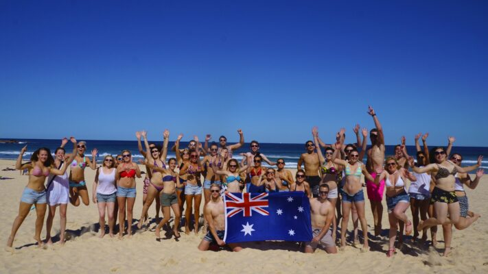 Gruppebillede på Bondi Beach i Australien