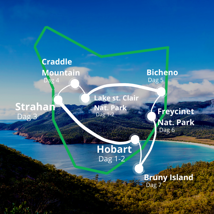Tasmanien kort 10 dages rejse